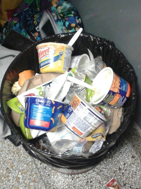 It's tech week, and this is our trash can. Gotta love instant mac and cheese!
