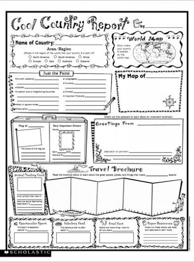 Cool Country Report Fill-in Poster Writing skills, Social - book report template free