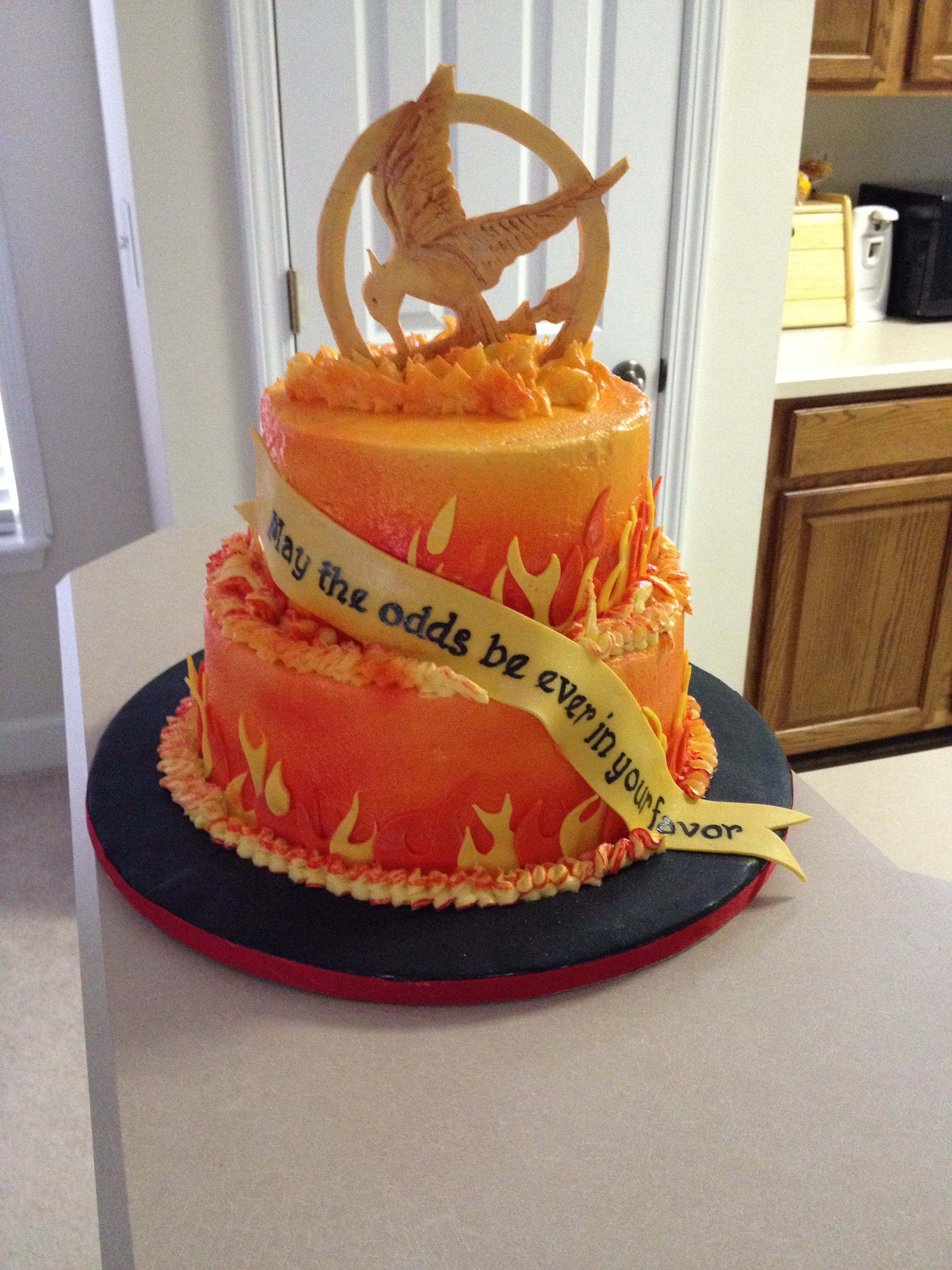 Fine Hunger Games Catching Fire Cake With Images Hunger Games Cake Funny Birthday Cards Online Elaedamsfinfo