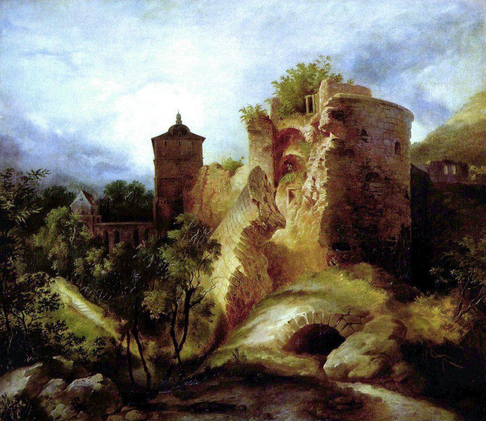 Karl Blechen, La  torre en ruinas del castillo de Heidelberg (1830), Alemania
