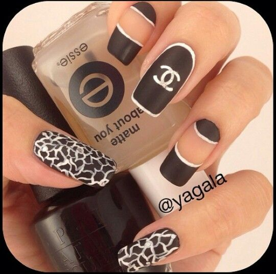 Black And White Chanel Nail Design Nails Pinterest Chanel
