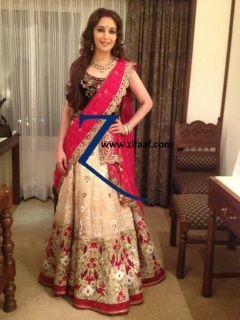 Madhuri Dixit in Designer Lehenga  Custom Order ONLY   www.zifaaf.com