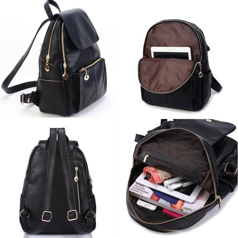Women Backpack Travel PU Leather Handbag Girls Rucksack Shoulder School Bag UK