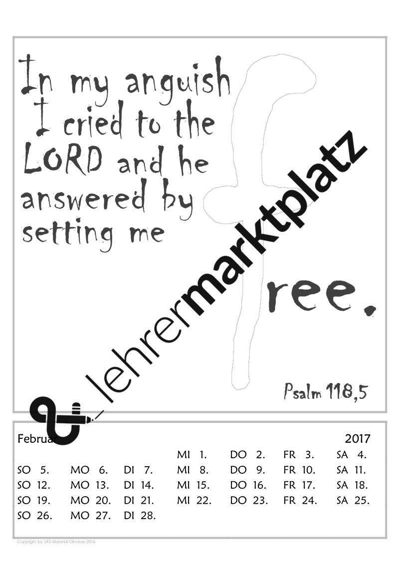 Die Kalendervorlage mit englischen Psalmversen lässt sich auf ...