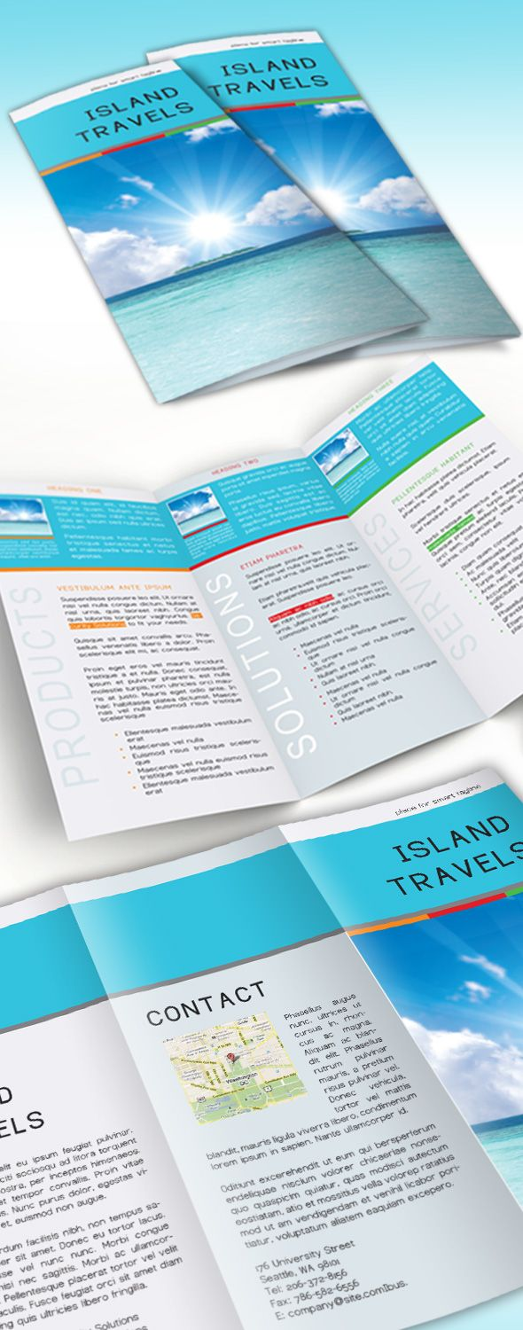 Free InDesign tri-fold brochure template | Proyectos que intentar ...