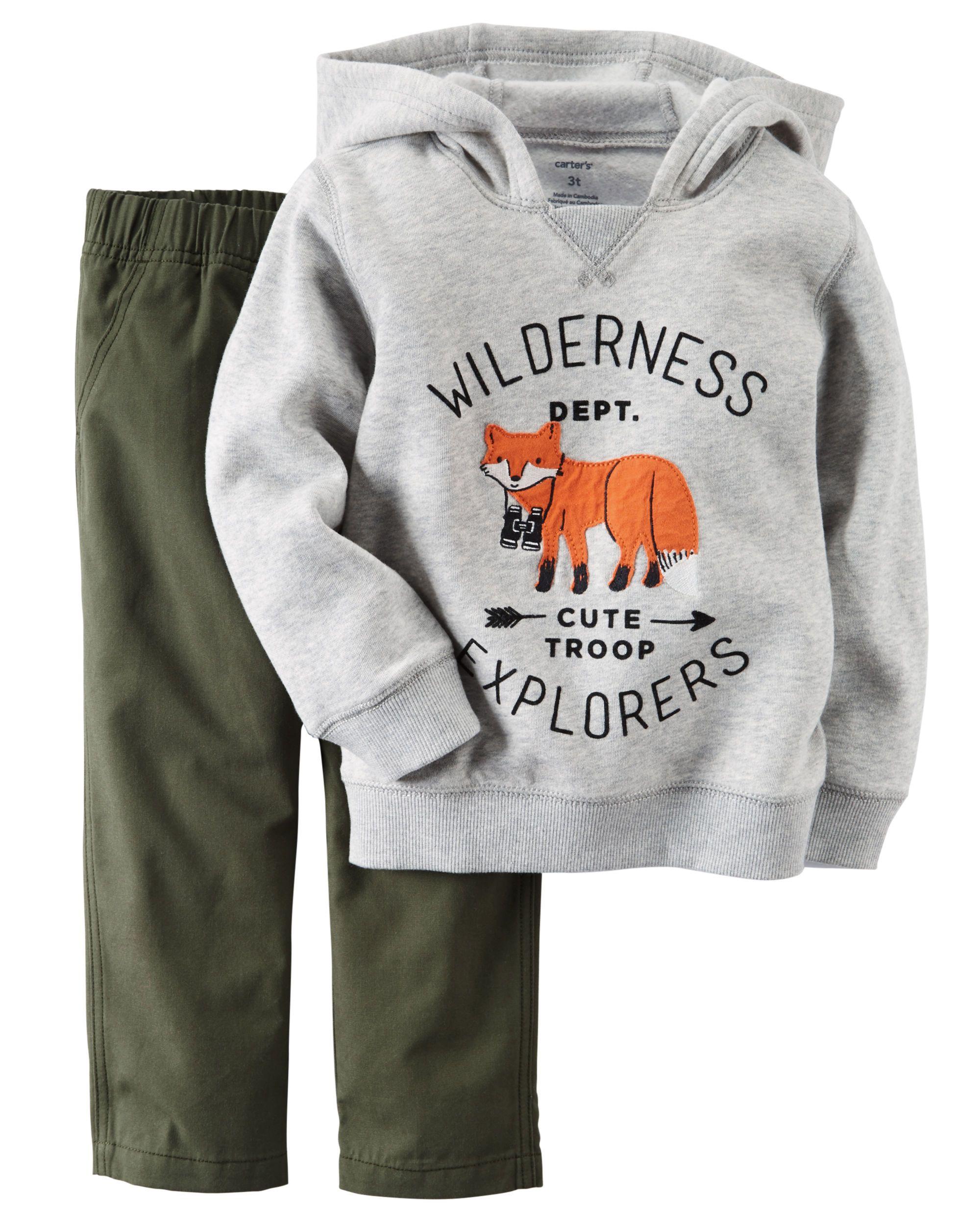 70b1e188013c Toddler Boy 2-Piece Fleece Hoodie   Canvas Pant Set from Carters.com ...