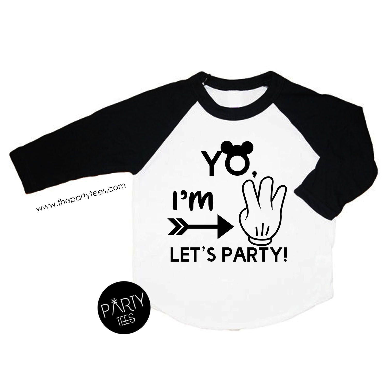 Im three lets party mickey birthday shirt 3 year old