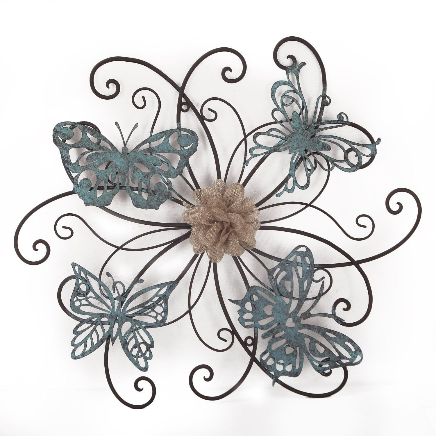 Adeco flower and butterfly urban design metal grey wall decor for