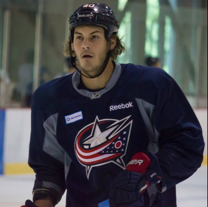 Jared Boll, Columbus Blue Jackets, ready to rock 2013-2014 Season. Photo: Chris Blake 9/14/13 Nationwide Arena, Columbus, OH