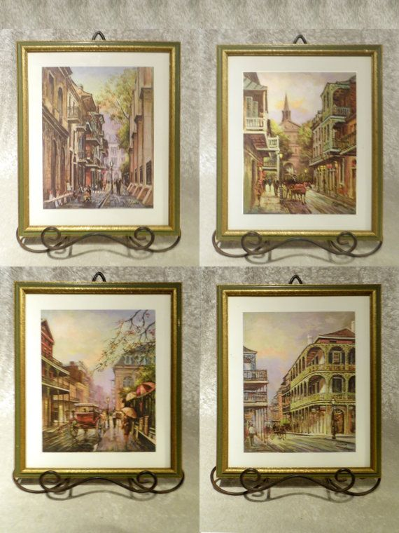 "New Orleans Wall Decor new orleans ""vieux carre"" oil painting prints signed coleman set"