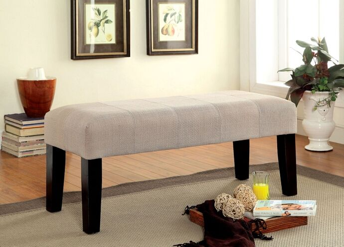 Bury collection contemporary style bedroom bench with ivory flax
