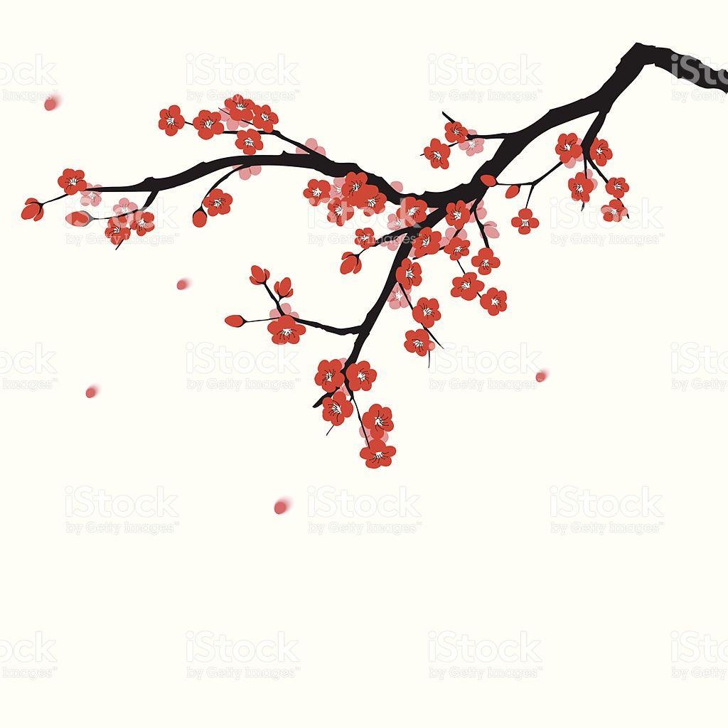 Plum Blooming Tree In Oriental Painting Style Cherry Blossom Painting Chinese Painting Blossoms Art