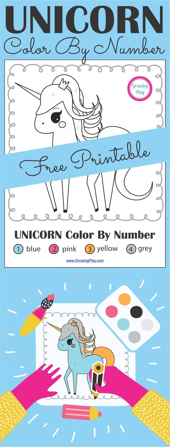 Unicorn Color By Number Freebie | Free printable, Unicorns and Number