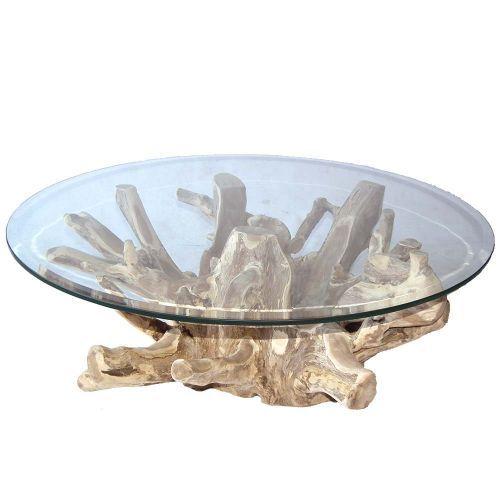 Table Basse Racine De Teck O110cm Ronde Racine Teck O90cm Avec Verre Meuble Bois Recycle Racines Arbre Teck