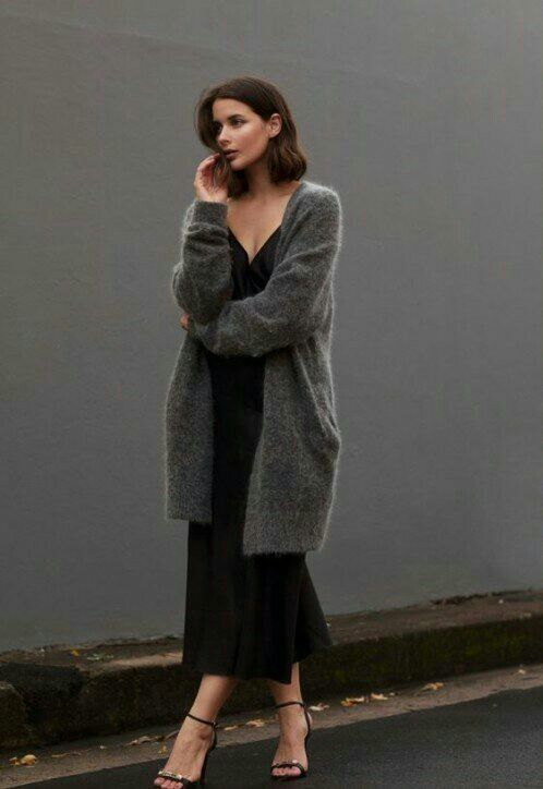 Minimalism Long Cardigan Sweater Over Black Dress F A S H In