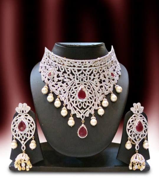 Diamond choker costume jewellery & Diamond choker costume jewellery | Traditional Jwellery | Pinterest ...