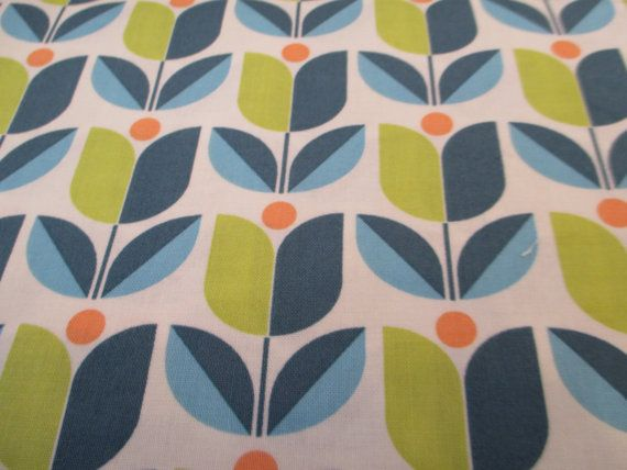 Quilting Weight Cotton Fabric by Joel Dewberry for Free Spirit Flora Tulip in Eucalyptus 1 yard