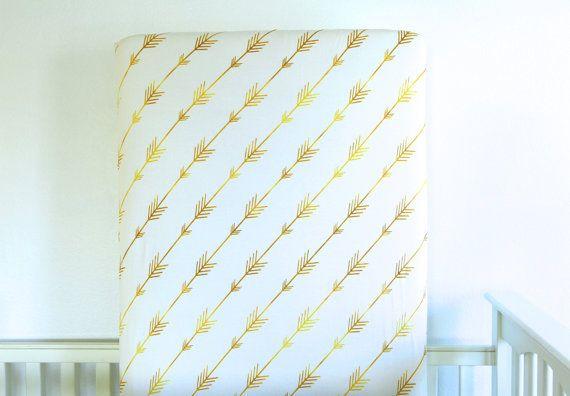 Organic Crib Sheet: Diagonal Gold Arrows by HorseAndDragonShoppe