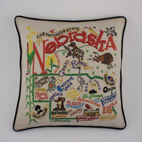Nebraska State Pillow At Whispering Pines Catalog State Pillow Nebraska State Embroidered Throw Pillows