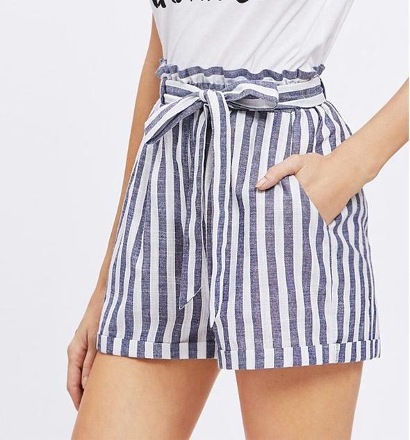 a777cd6cdb4b Striped High-Waisted Shorts