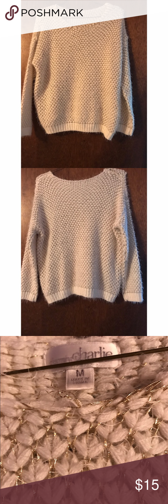 White Fluffy Sweater with Gold Thread Charming Charlie White Puffy Sweater with Gold Thread. Size medium. Very comfortable fit, not tight fitting. True to size, although can also fit a large. Charming Charlie Sweaters Crew & Scoop Necks