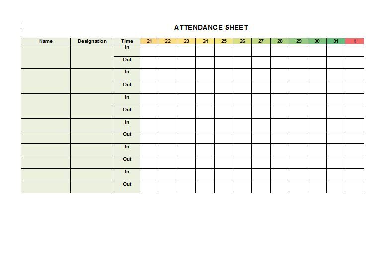 Check out our 38 FREE Attendance Sheet Templates. They are ready-to ...