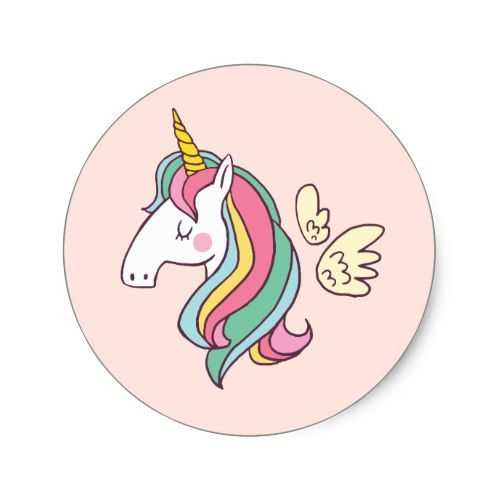 Cute birthday doodle flying rainbow unicorn classic round sticker