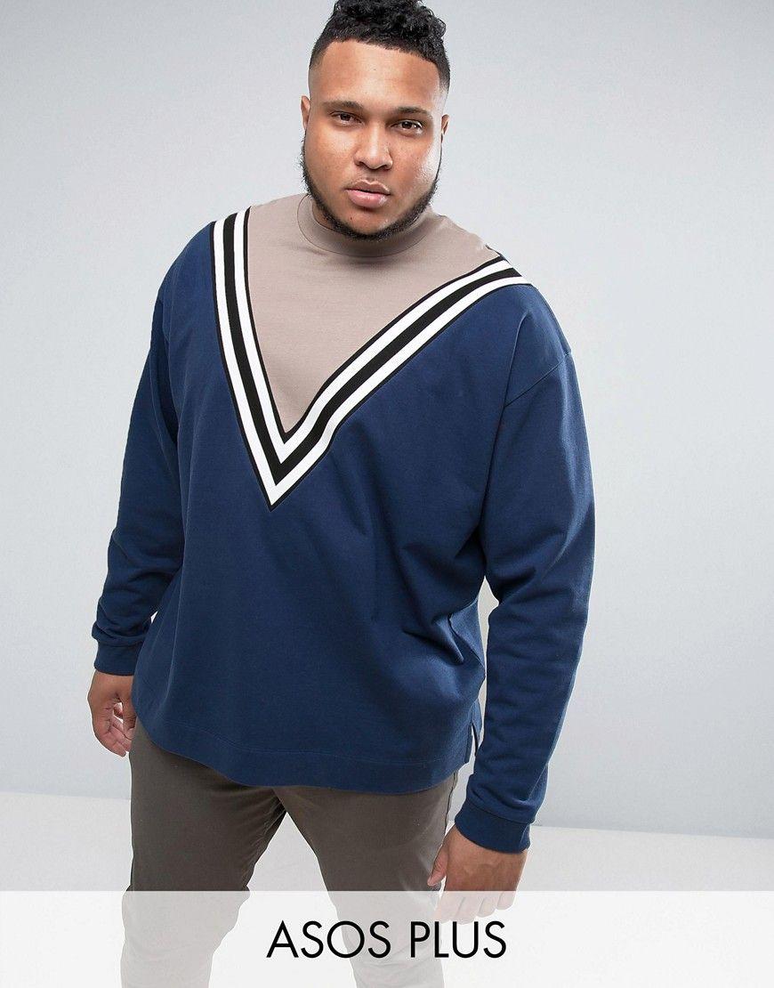 6ac8415d25a ASOS PLUS Oversized Longline Cut   Sew Sweatshirt With Stripe Print ...