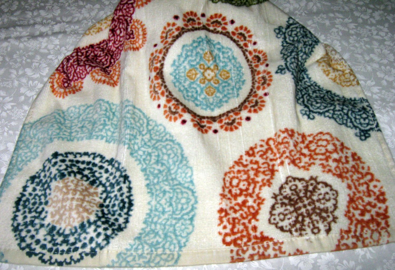 Crochet Kitchen Hanging Towel Beige towel, different colored ...