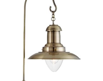 Searchlight U0027Fishermanu0027 1 Light Floor Lamp, Antique Brass With Clear Glass  Shade