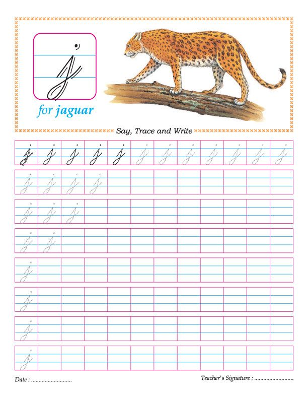 Cursive small letter j practice worksheet | divi | Pinterest ...
