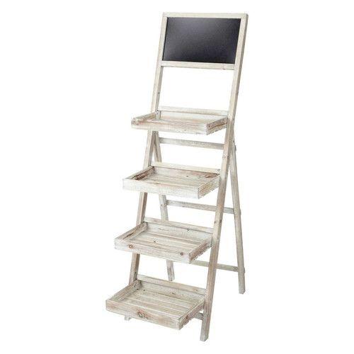 Estanter a escalera con pizarra de madera blanqueada an - Estanterias en escalera ...