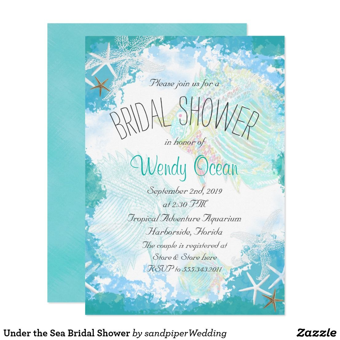 Under the Sea Bridal Shower Card Under the sea, beach bridal shower ...