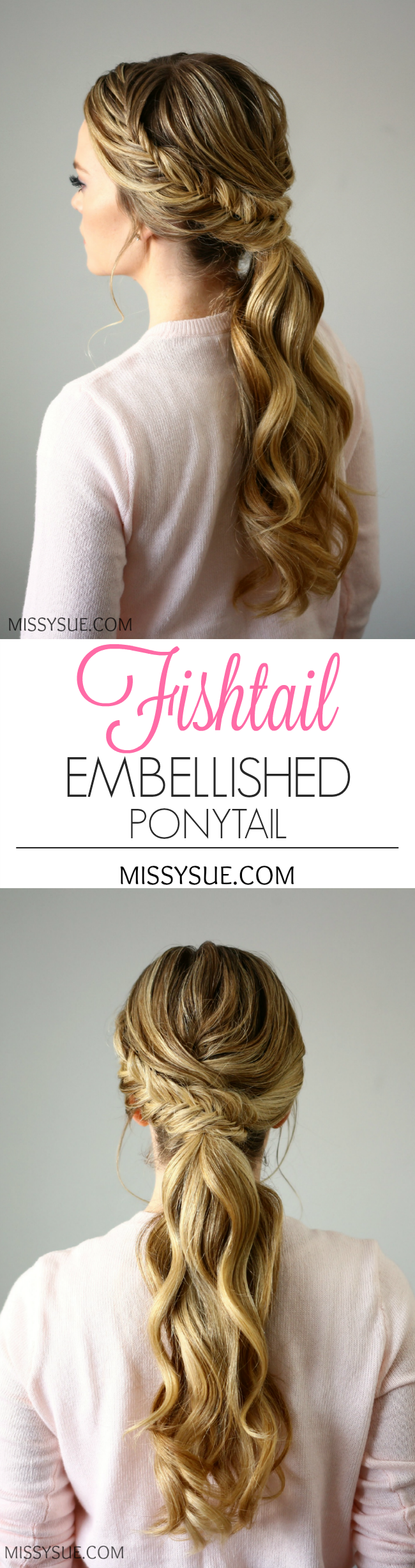 Fishtail embellished ponytail peinados pinterest fishtail