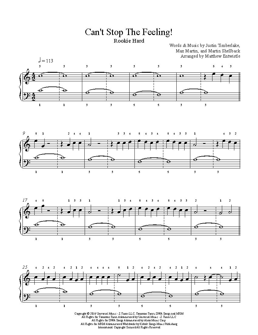 Google chrome themes justin timberlake - Can T Stop The Feeling By Justin Timberlake Piano Sheet Music Rookie Level