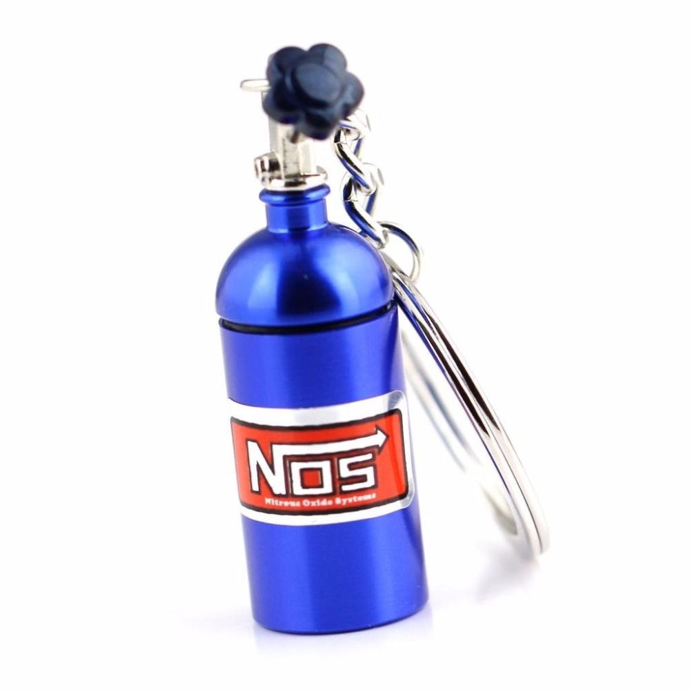 Novelty Keychain NOS Mini Nitrous Oxide Bottle Keyring Stash Pill Box Storage