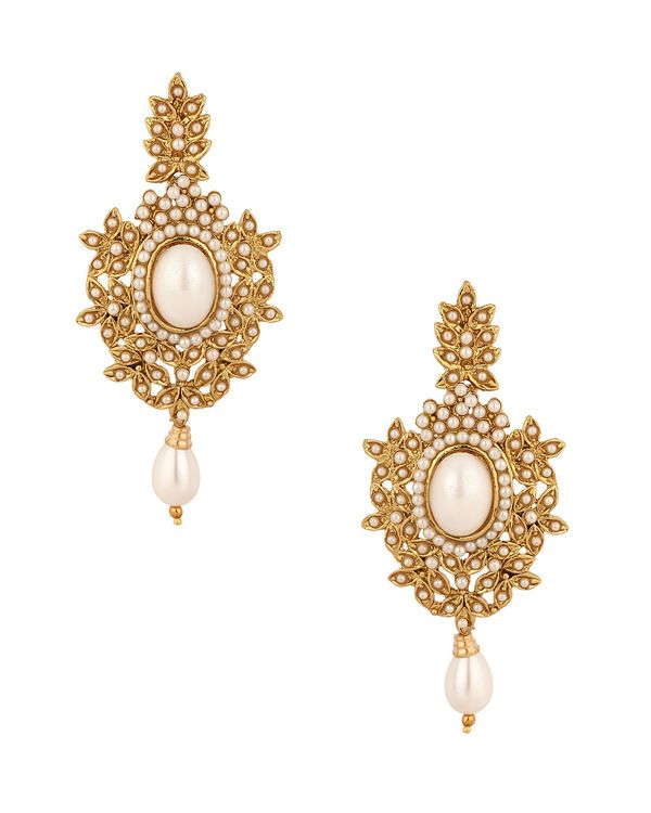 Gold Plated Golden Leaves Earring Pair With Pearl Beads, Drops