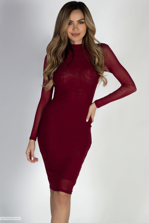 Sheer Instinct Burgundy See Through Mesh Long Sleeve Dress