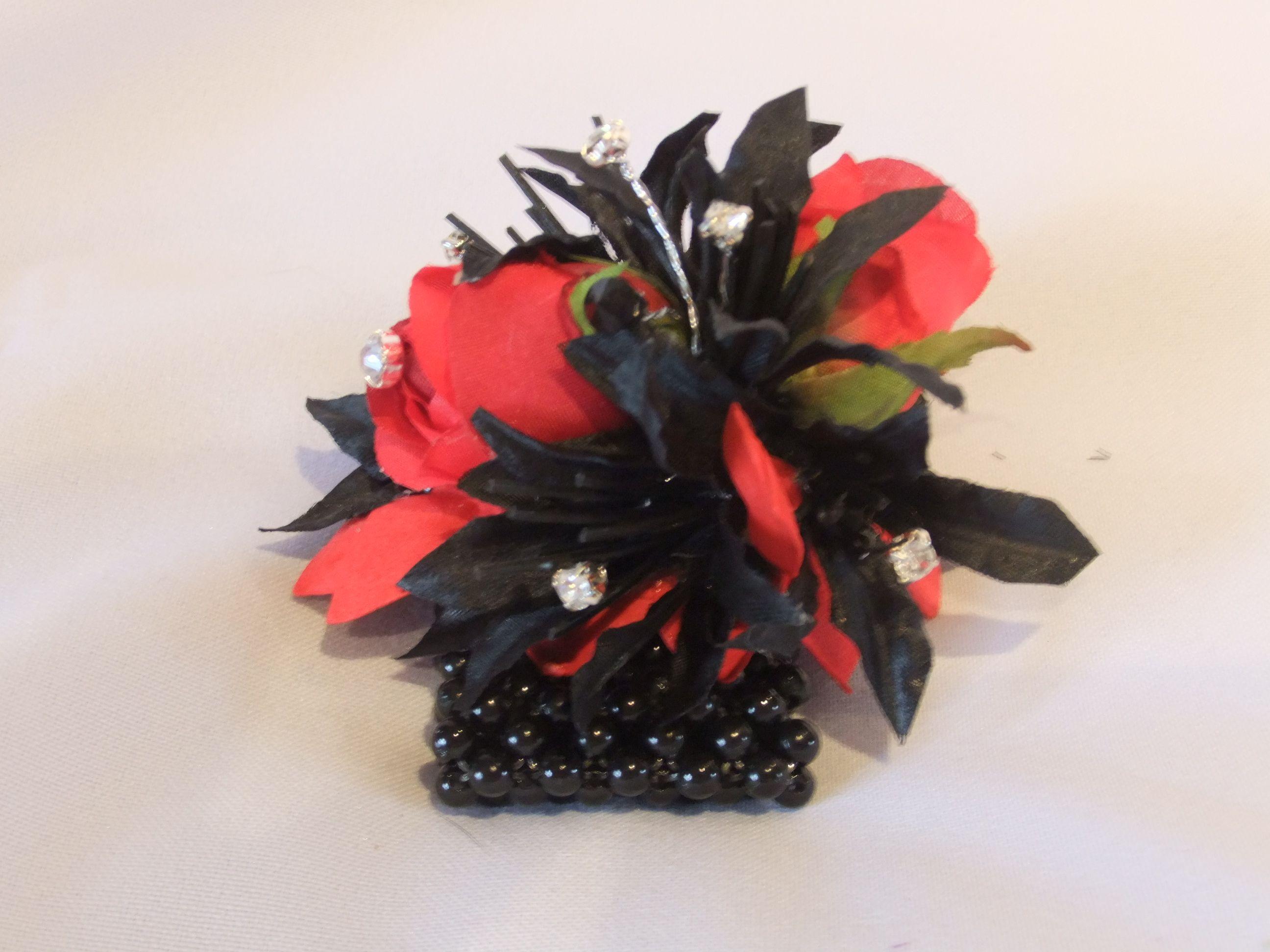 Red Rose Wristlet Red Black Silk Wrist Corsage 13 A Elegant Silk