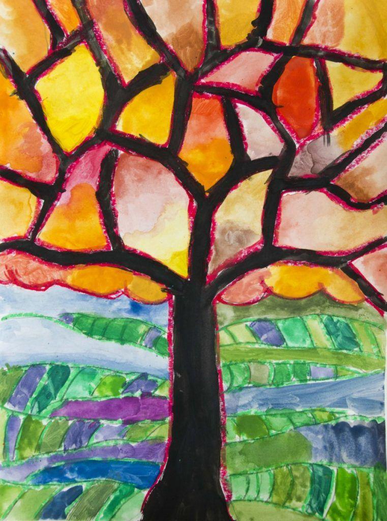 Disegno Di Un Albero Con Colori Caldi E Freddi Coloratutto