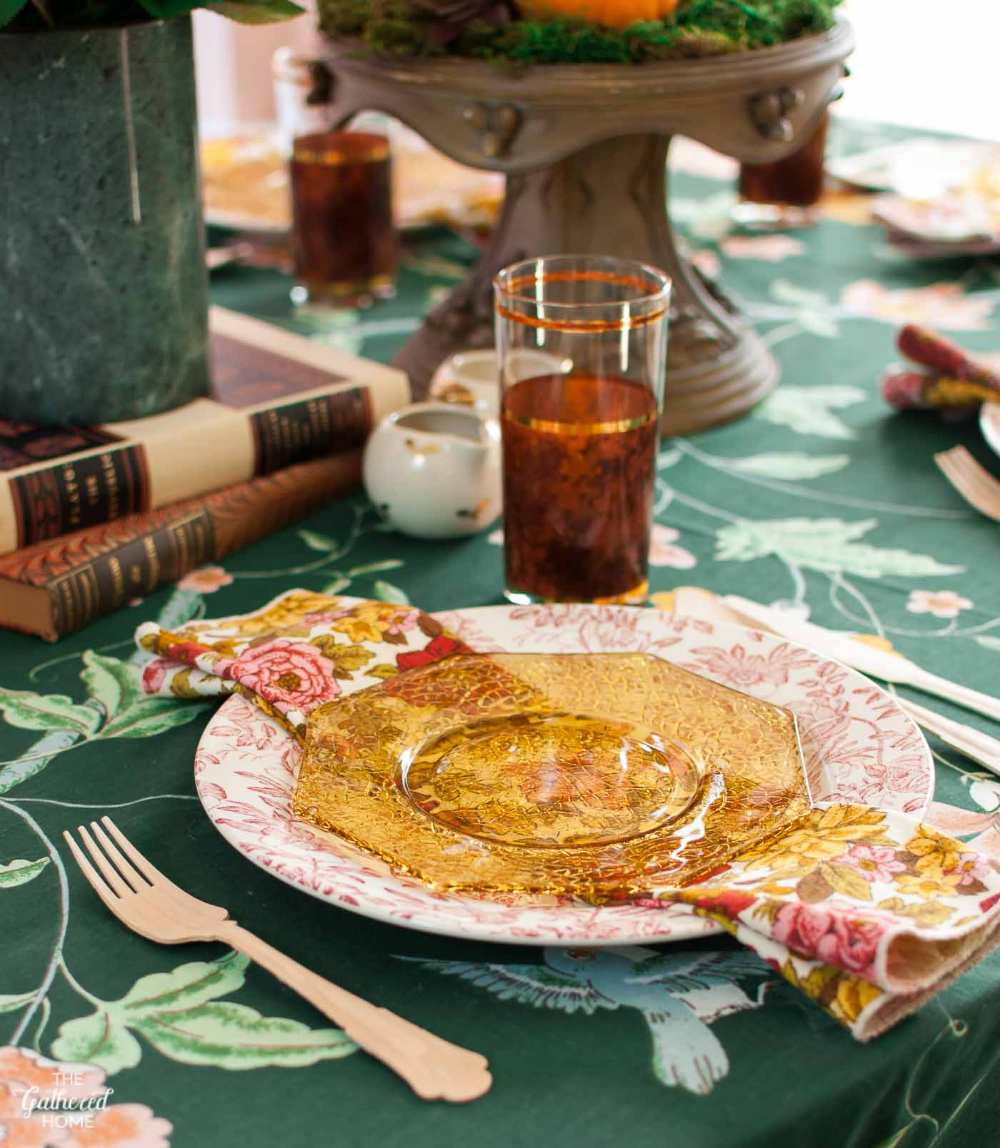 Granny Chic Mixed Florals Thanksgiving Table Setting - The Gathered Home