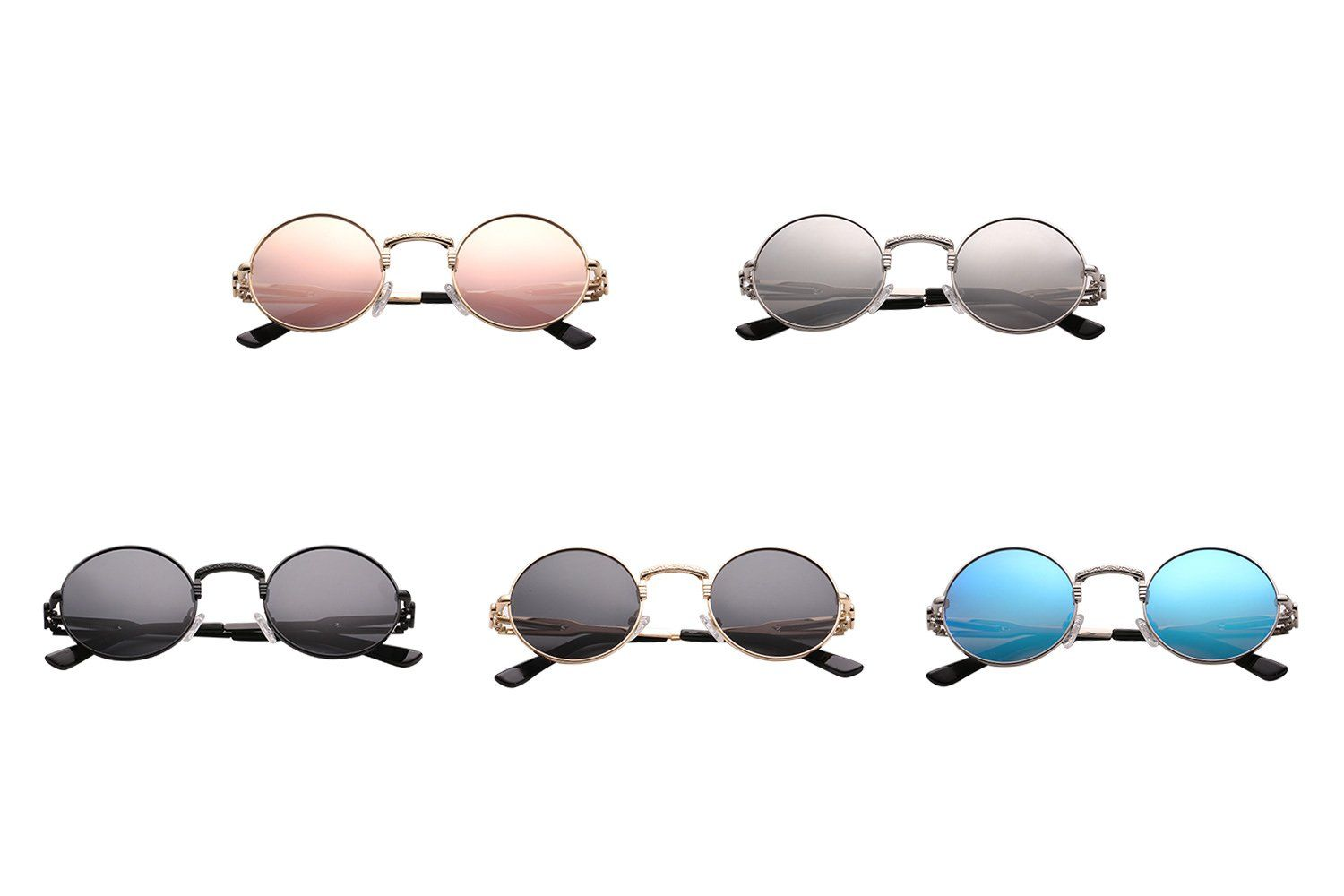 11cba385bb9 Polarized Steampunk Sunglasses for Women Men Metal Frame Round Retro Glasses  Pinkmirror gold frame   Continue to the product at the image link.