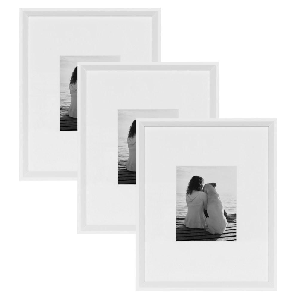 Kate And Laurel Calter 16 In X 20 In Matted To 8 In X 10 In White Picture Frame Set Of 3 White Picture Frames Wood Picture Frames Contemporary Picture Frames