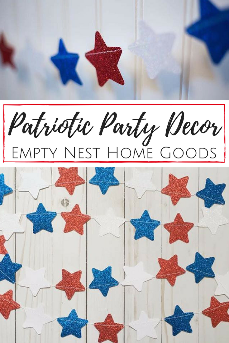Red White And Blue Star Garlands Patriotic Glitter Garland Etsy Star Garland Patriotic Decorations Party 4th Of July Decorations