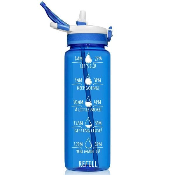 Hydromate Liter Motivational Water Bottle Straw Bpa Free 32oz Dark Blue In 2020 Bottle Straw Bottle Motivational Water Bottle