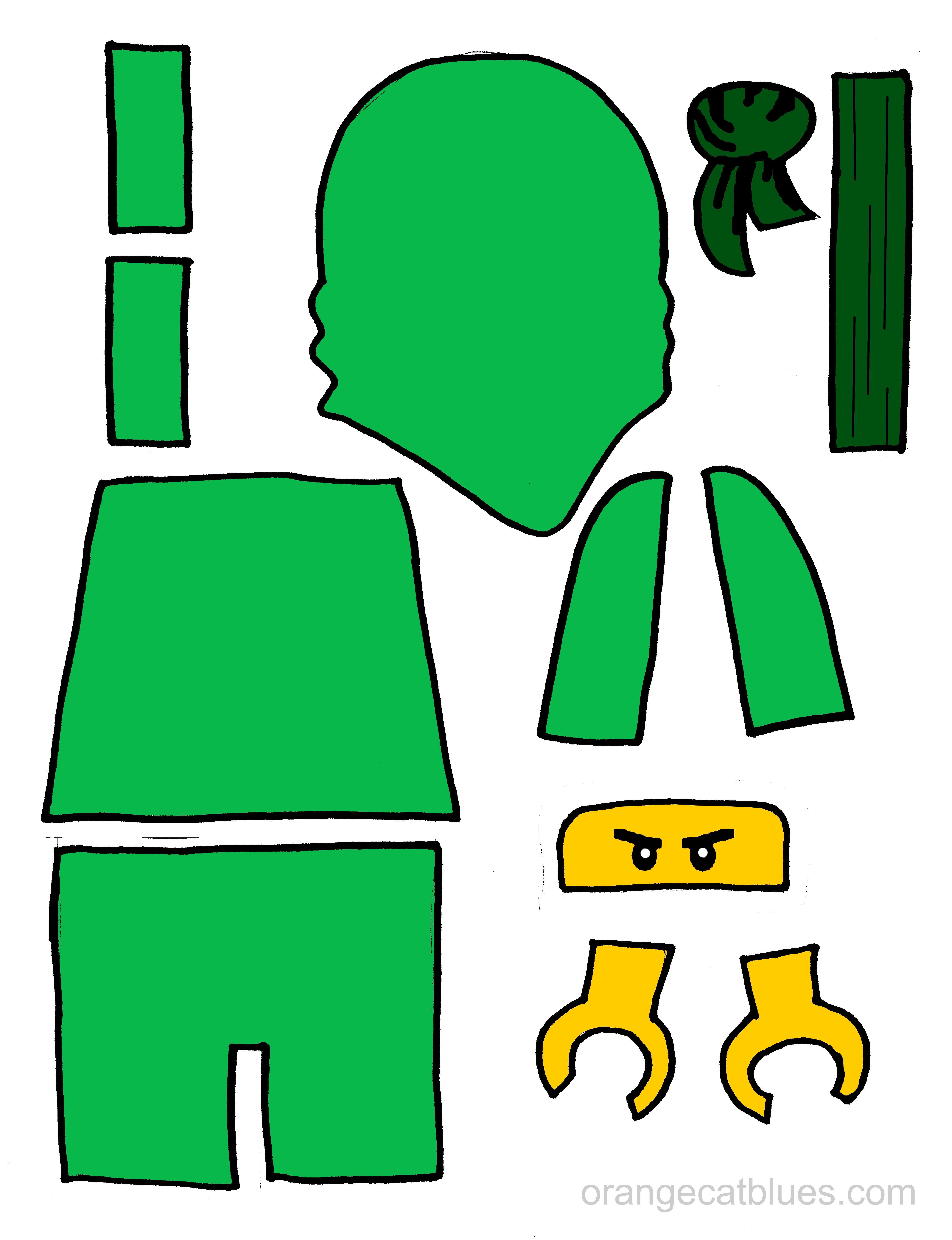 Lego Ninjago printable cutout for toddler gluestick art: The Green ...