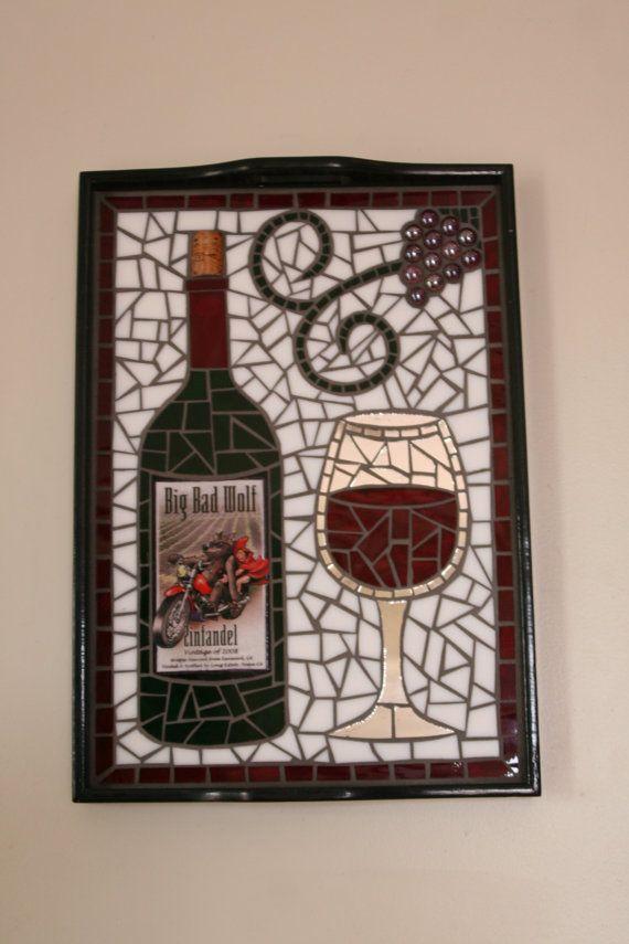 Unique Label Wine Bottle Mosaic Glass Serving Tray ~ Wall Art
