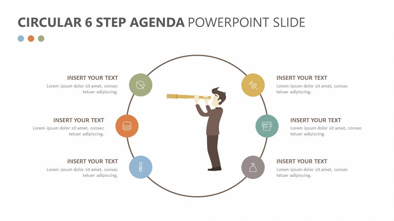 the circular 6 step agenda powerpoint slide will allow you to detail