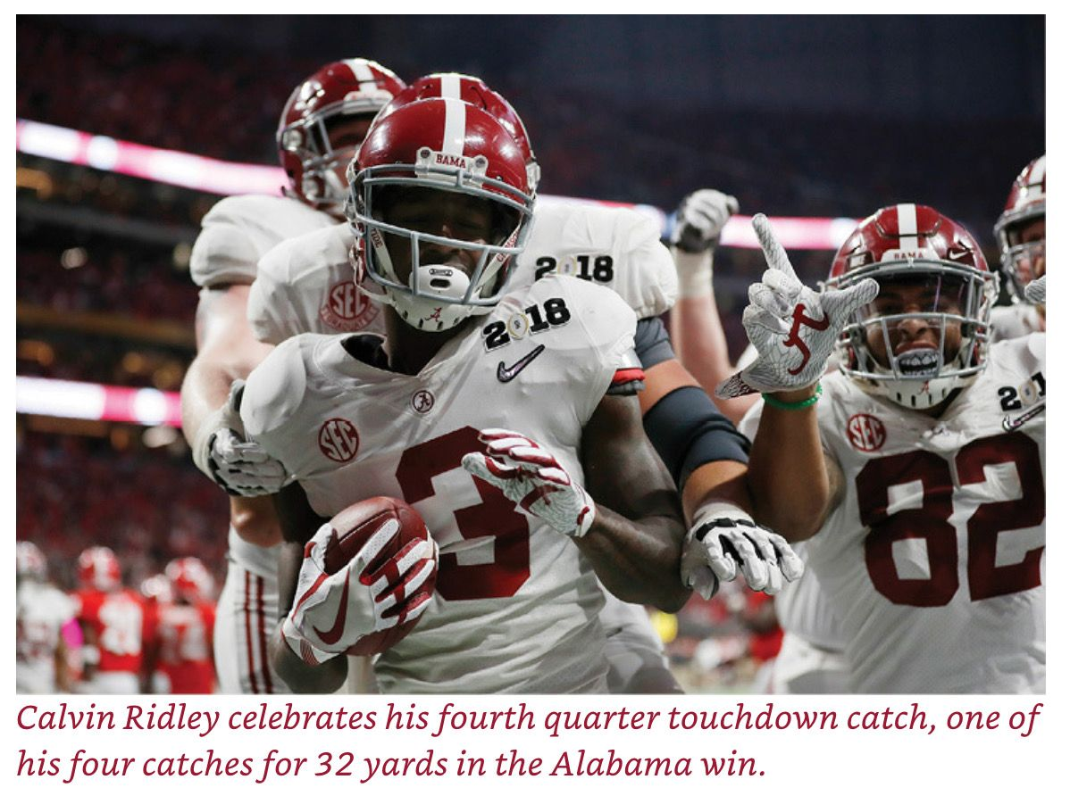 Calvin Ridley Picture Credit From The Book Bama Dynasty The Crimson Tide S Road To College Fo Alabama Crimson Tide Football National Championship Alabama