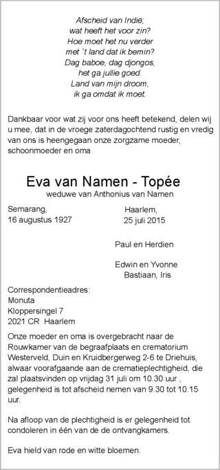 Eva van Namen - Topée